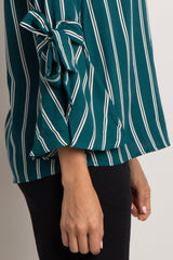 Teal Striped Tie Accent Bell Sleeve Blouse
