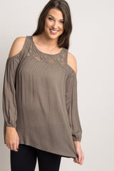 Olive Crochet Cold Shoulder Maternity Blouse