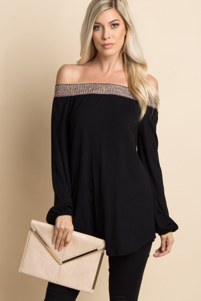 Black Shimmer Off Shoulder Maternity Top