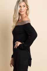Black Shimmer Off Shoulder Top