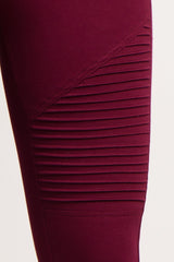 Burgundy Solid Moto Maternity Leggings