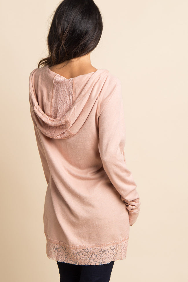 Mauve Lace Trim Hooded Sweater