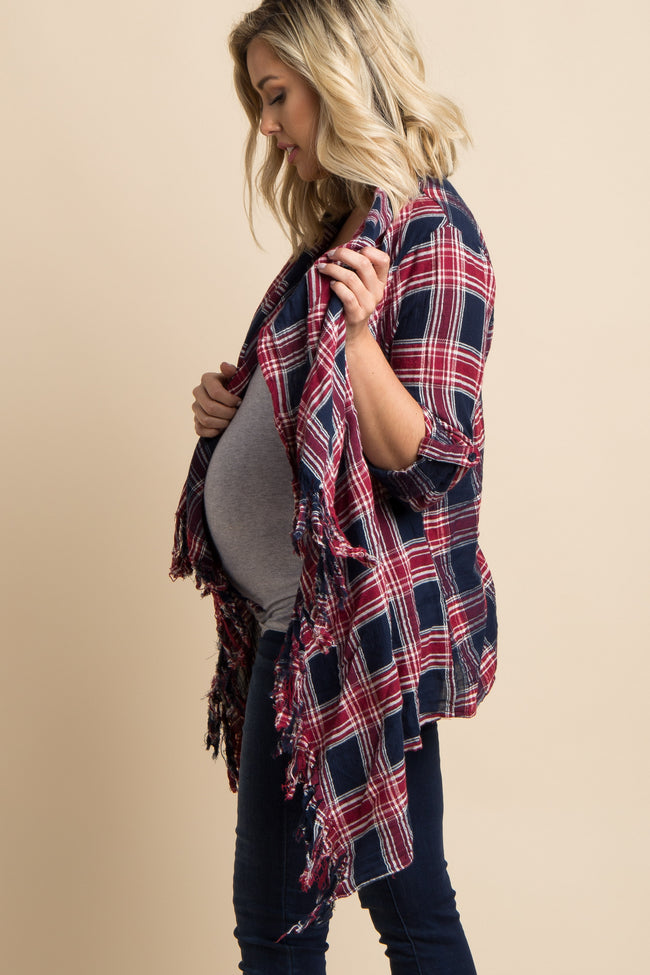 Navy Blue Plaid Print Draped Front Maternity Fringe Cardigan