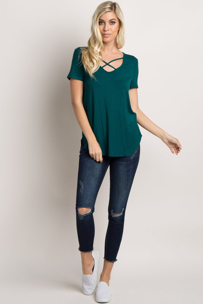 Forest Green Solid Crisscross Front Top