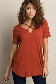 Rust Crisscross Cutout Ribbed Top