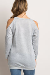 Heather Grey Cold Shoulder Maternity Sweater