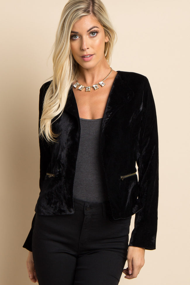 Black Solid Velvet Cropped Maternity Blazer