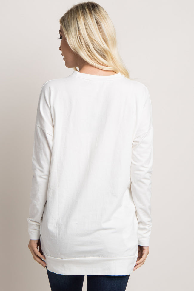 Ivory Cross Front Sweater