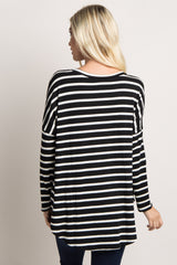 Black Striped Long Sleeve Top