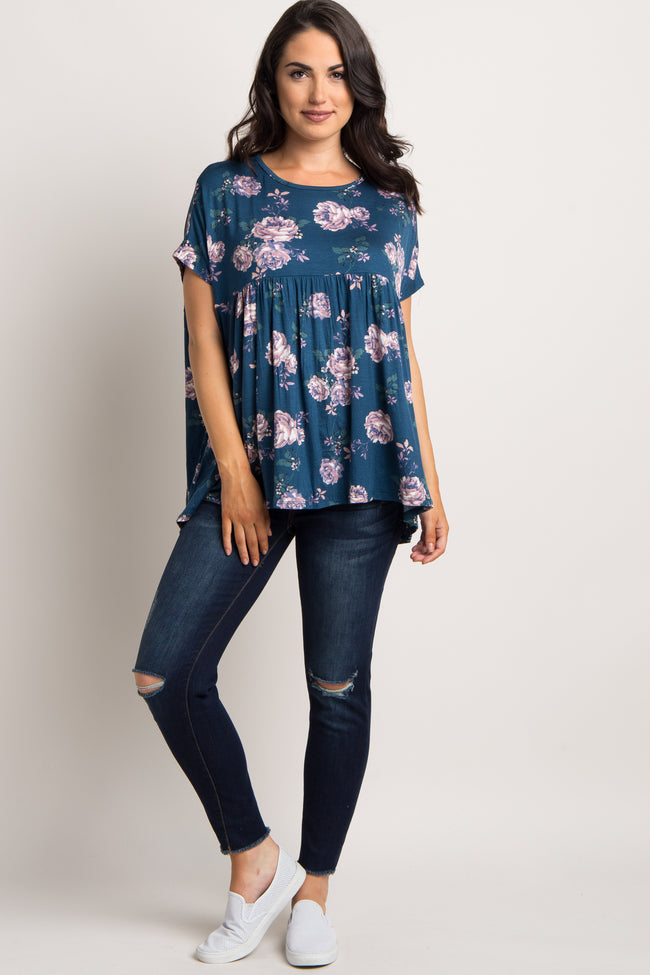 Teal Floral Dolman Sleeve Maternity Top