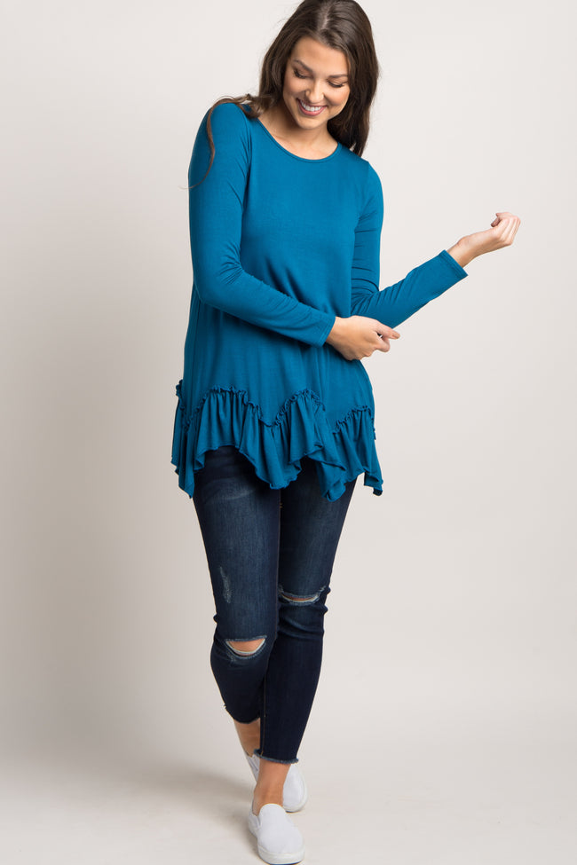 Teal Ruffle Trim Asymmetrical Top