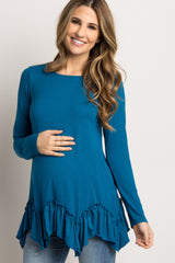 Teal Ruffle Trim Asymmetrical Maternity Top