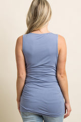 Light Blue Solid Ruched Maternity Tank Top