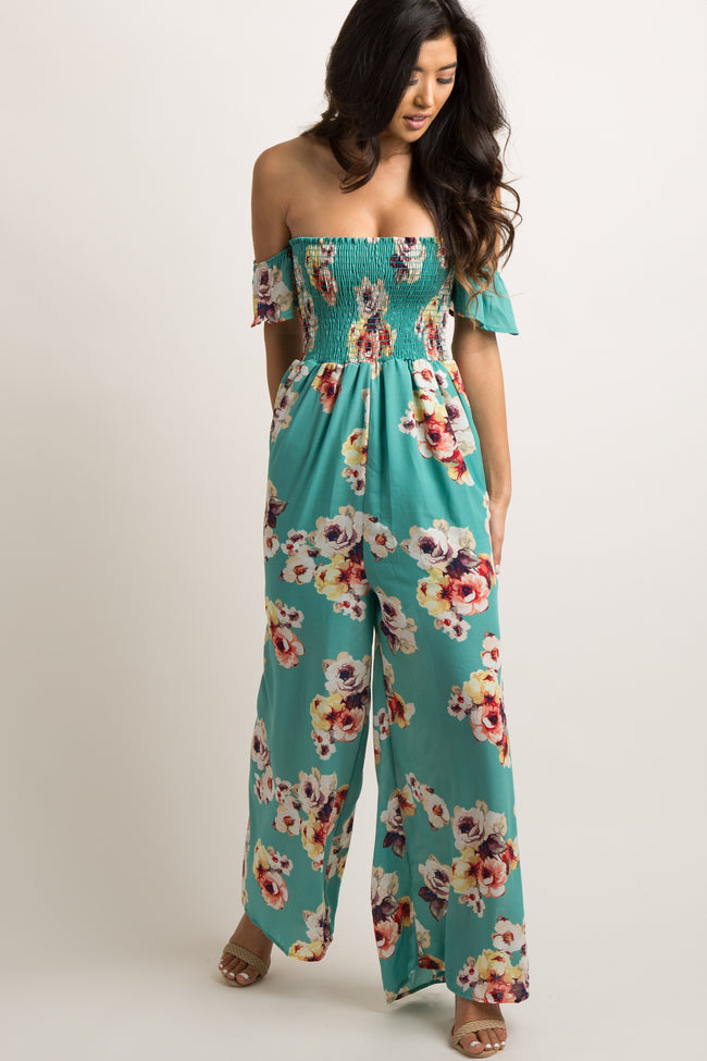 Green Floral Chiffon Smocked Off Shoulder Maternity Jumpsuit