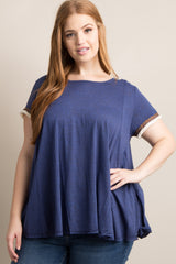 Navy Blue Embroidered Fringe Trim Plus Maternity Top