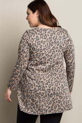 Beige Leopard Print Long Sleeve Plus Top