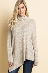 Beige Heathered Asymmetric Cowl Neck Knit Top