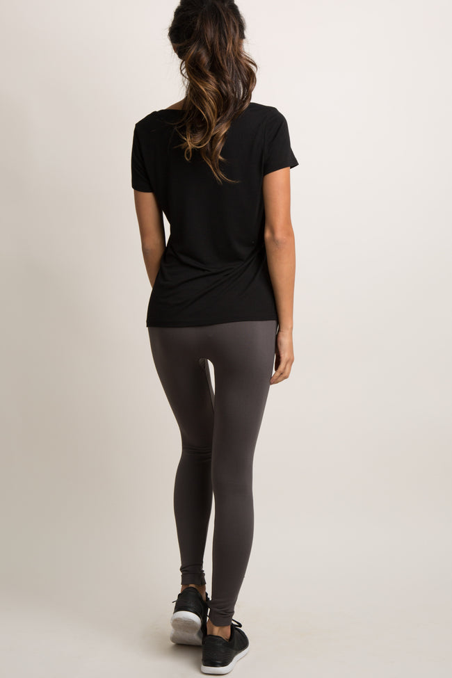 Grey Basic Fleece Leggings