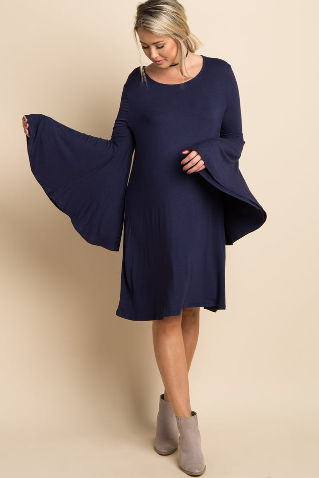 Navy Blue Solid Bell Sleeve Maternity Dress