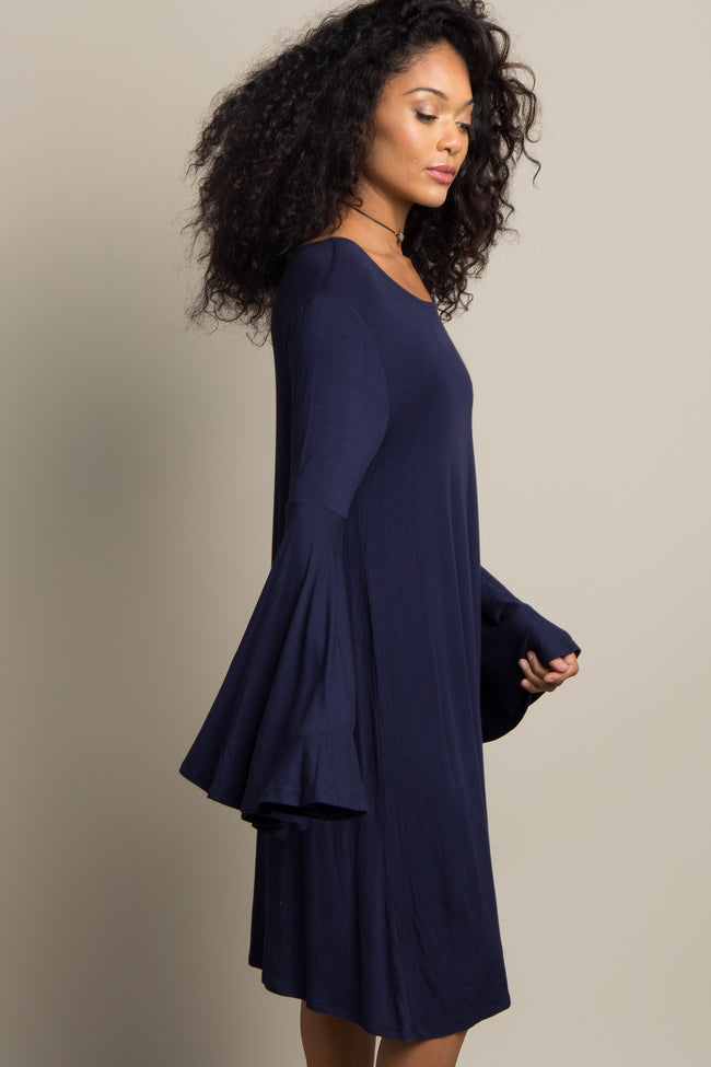 Navy Blue Solid Bell Sleeve Dress