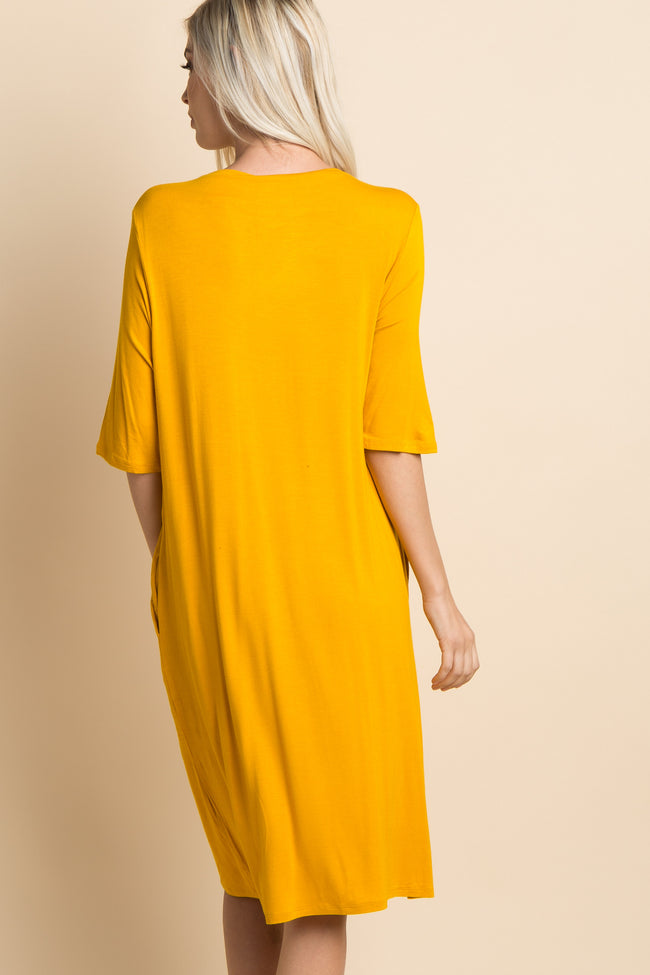 Yellow Solid Boatneck Midi Dress