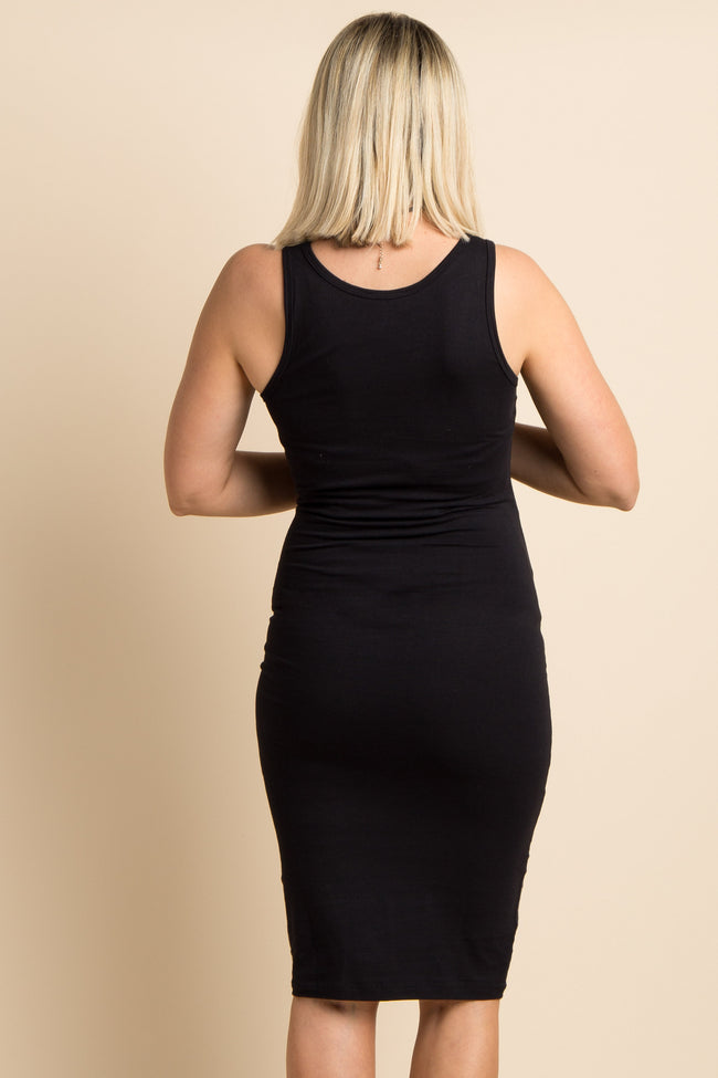 Black Solid Sleeveless Fitted Maternity Bodycon Dress