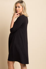Black Solid Crisscross Swing Dress