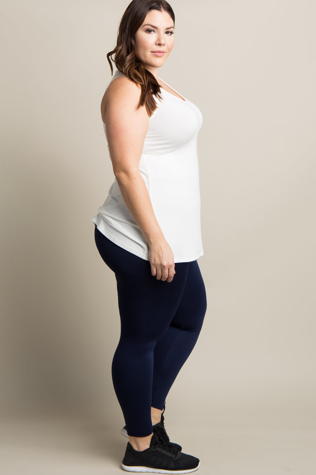 Navy Blue Basic Fleece Plus Leggings