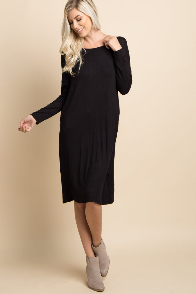 Black Solid Dolman Sleeve Midi Dress