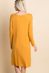 Yellow Solid Dolman Sleeve Midi Dress