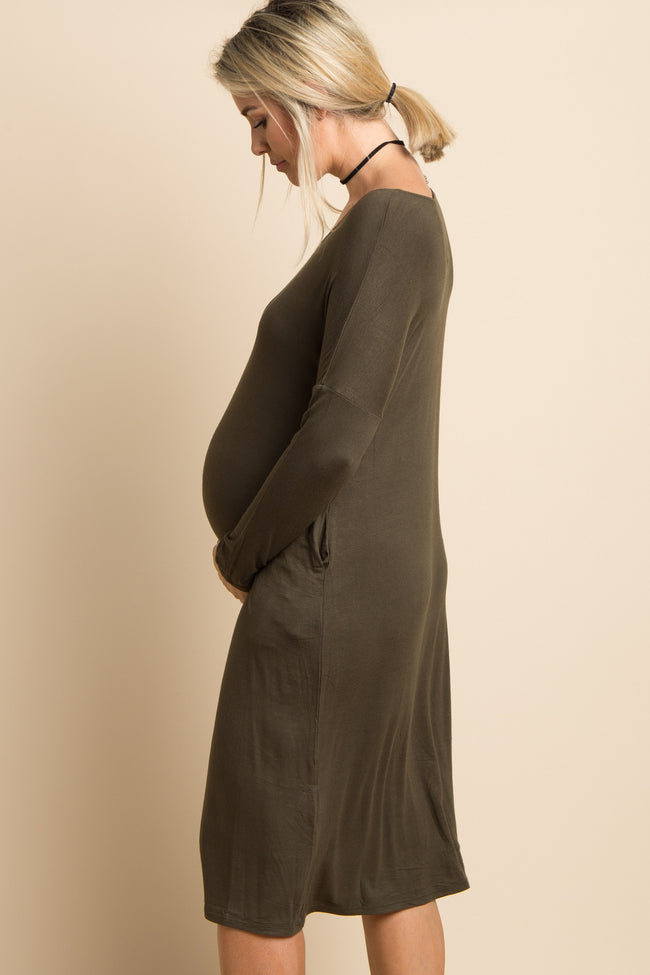 Olive Green Solid Dolman Sleeve Maternity Midi Dress