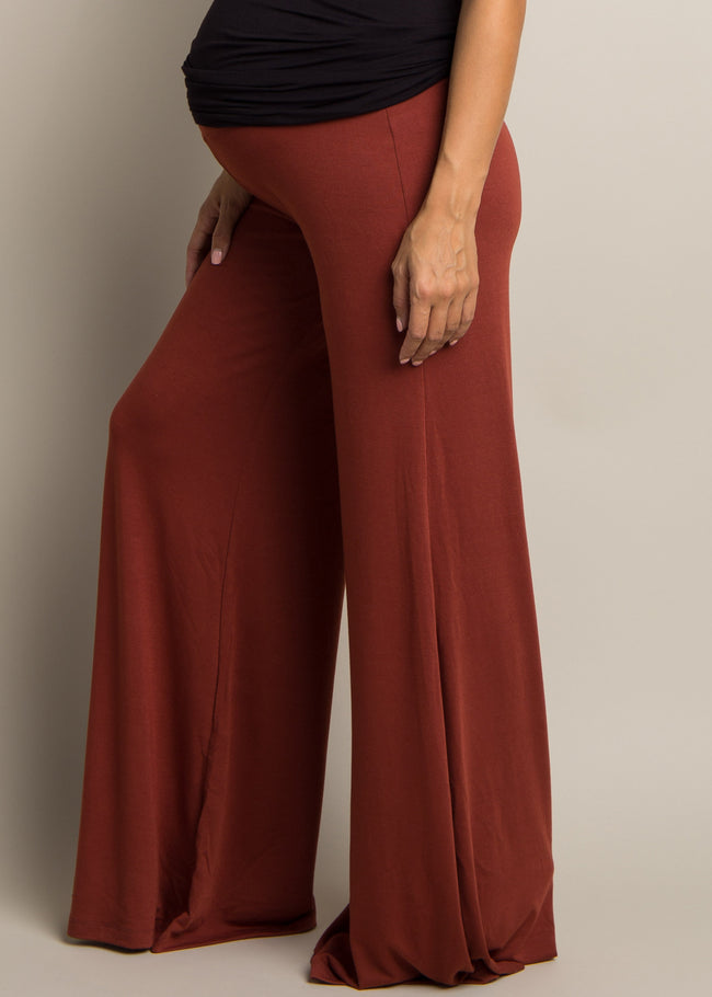 Rust Wide Leg Maternity Lounge Pants