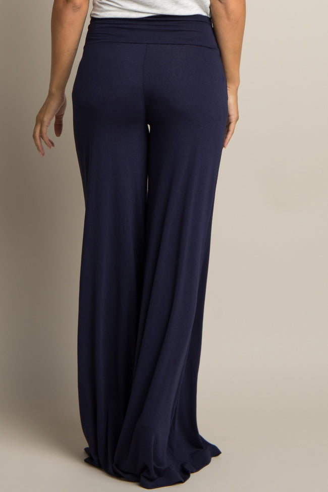 Navy Blue Wide Leg Maternity Lounge Pants