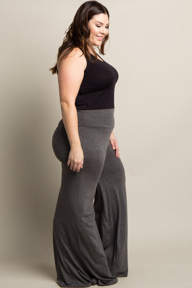 Charcoal Grey Solid Wide Leg Plus Lounge Pants