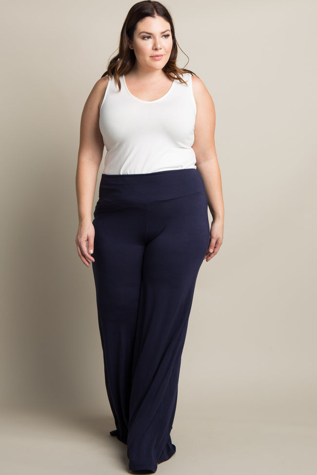 Navy Solid Wide Leg Plus Maternity Lounge Pants