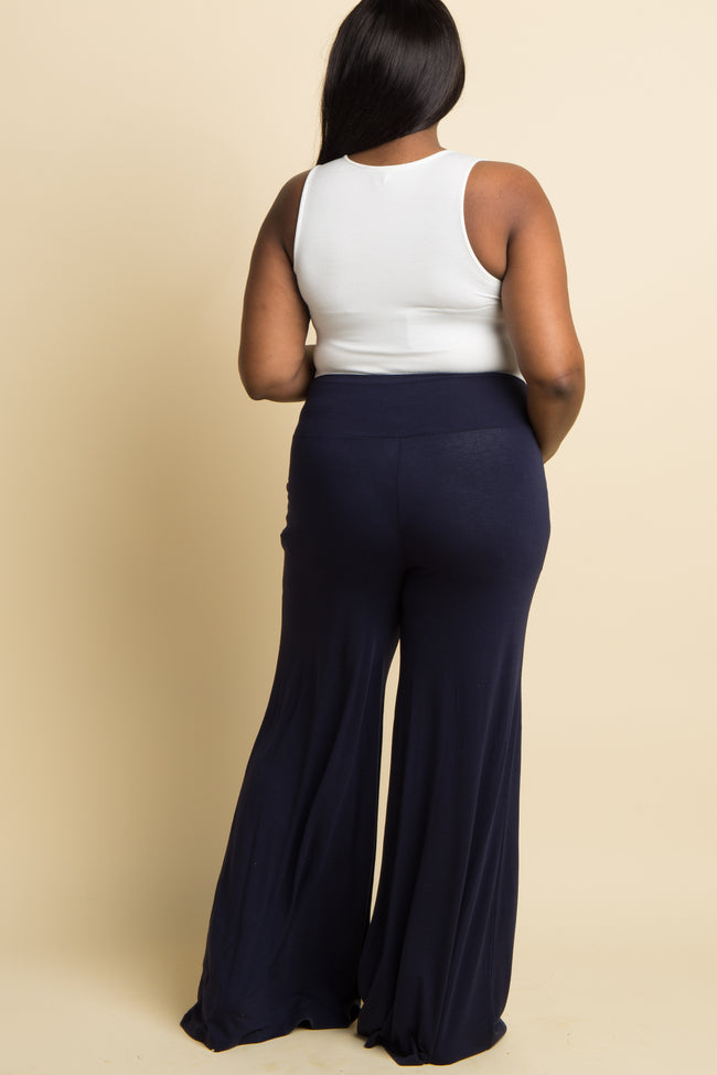 Navy Solid Wide Leg Plus Lounge Pants