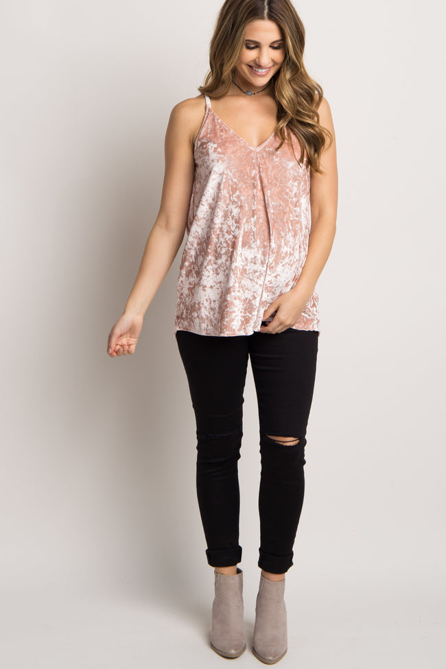 Pink Crushed Velvet Maternity Cami