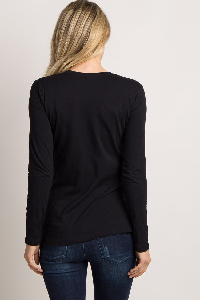 Black Basic Long Sleeve Maternity Tee