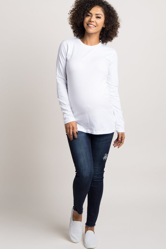 White Basic Long Sleeve Maternity Tee
