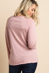 "Pink Raw Cut ""I Love Sleep"" Graphic Maternity Top"
