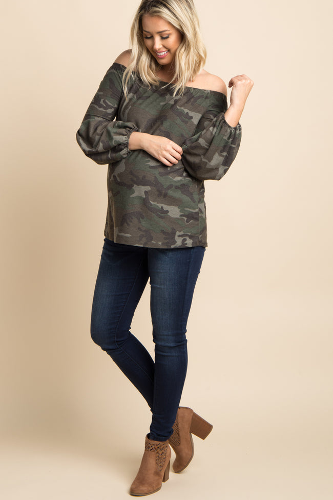Olive Green Camo Print Off Shoulder Maternity Top