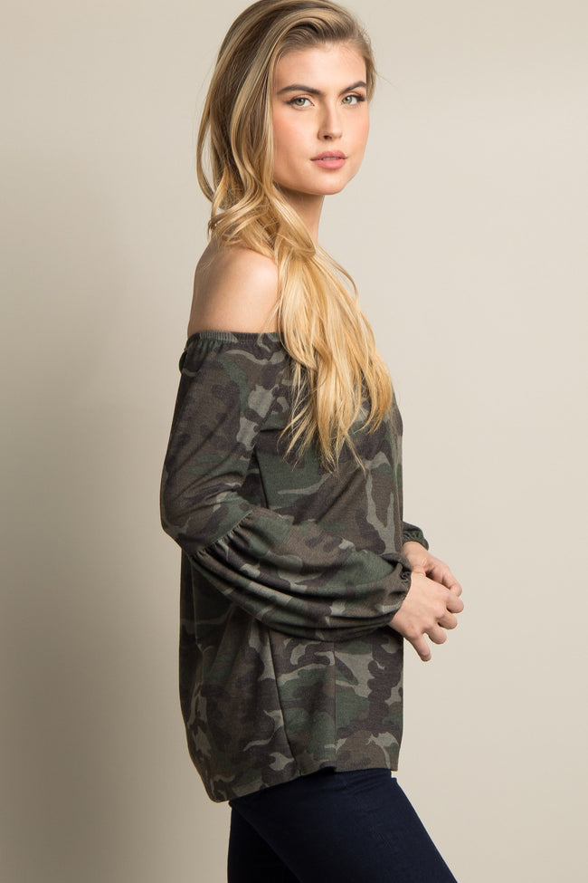 Olive Green Camo Print Off Shoulder Top