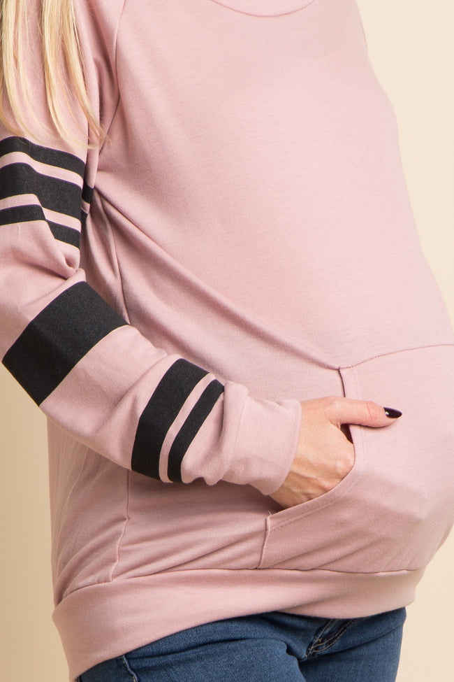 Pink Striped Pocket Front Maternity Top