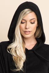 Black Hooded Ruffle Sleeve Terry Sweater