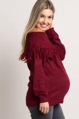 Burgundy Foldover Fringe Off Shoulder Knit Maternity Top