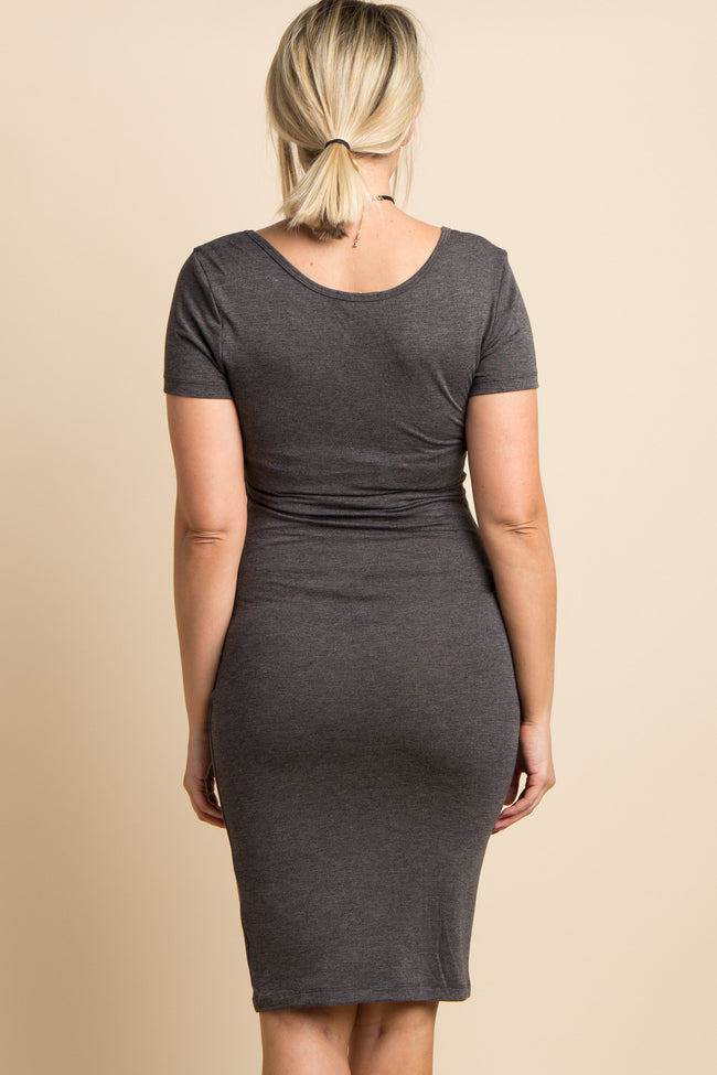 Charcoal Grey Solid Short Sleeve Fitted Maternity Dress
