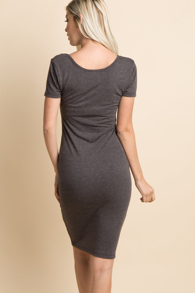 Charcoal Grey Solid Short Sleeve Fitted  Dress