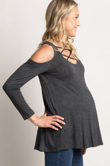 Charcoal Crisscross Cutout Cold Shoulder Maternity Top