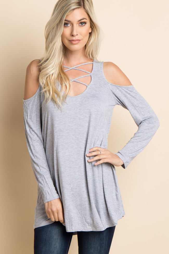 Heather Grey Crisscross Cutout Cold Shoulder Top