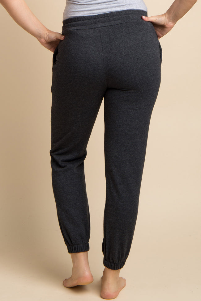 Charcoal Grey Drawstring Maternity Sweatpants